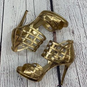 Gold textured Micheal Kors leather Cage Stilettos